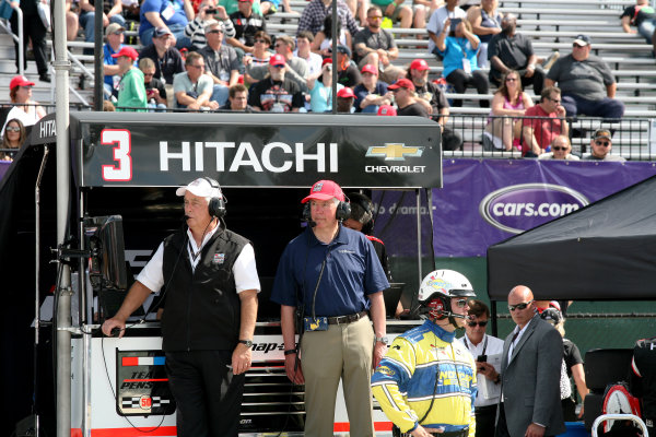 5 June, 2016, Detroit, Michigan USA Roger Penske and Michigan Governor Snyder watch the race ?2016, Maria W. Grady LAT Photo USA