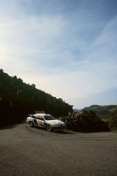 Tour de Corse, Corsica, France. 3 - 6 May 1988. Rd 5.Carlos Sainz/Lu's Moya (Ford Sierra RS Cosworth), 5th position, action. World Copyright: LAT PhotographicRef: 88RALLY19