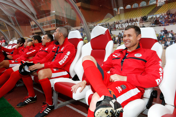Monte Carlo, Monaco. Tuesday 19 May 2015. Tom Kristensen on the bench at the 22nd World Stars football match. World Copyright: Charles Coates/LAT Photographic. ref: Digital Image _J5R5587