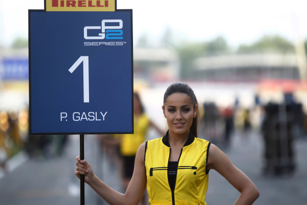 2015 GP2 Series Round 2. Circuit de Catalunya, Barcelona, Spain.  Sunday 10 May 2015 grid girl for Pierre Gasly (FRA, DAMS)  Photo: Sam Bloxham/GP2 Media Service ref: Digital Image _G7C3673