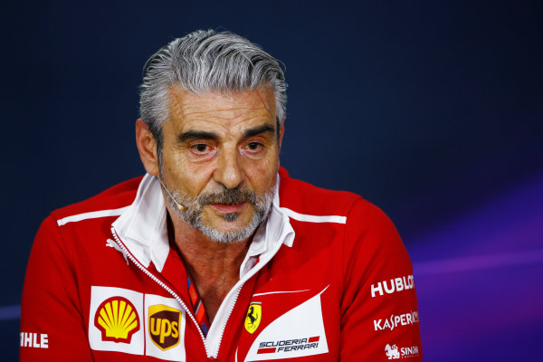Circuit Gilles Villeneuve, Montreal, Canada. Friday 09 June 2017. Maurizio Arrivabene, Team Principal, FerrariGuenther Steiner, Team Principal, Haas F1, in the Team Principals Press Conference. World Copyright: Andy Hone/LAT Images ref: Digital Image _ONZ0644