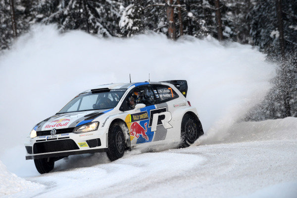 Jari-Matti Latvala (FIN) and Miikka Anttila (FIN), VW Polo WRC on stage 9. FIA World Rally Championship, Rd2, Rally Sweden, Karlstad, Sweden, Day Two, Saturday 9 February 2013.