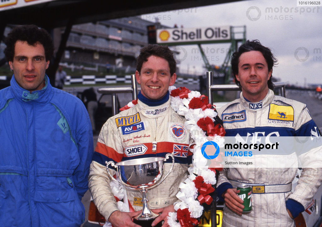 Results: 1st Andrew Gilbert-Scott (GBR) Eddie Jordan Racing, centre. 2nd Roland Ratzenberger (AUT) Spirit Motorsport, left. 3rd Gary Brabham (AUS) Bromley Motorsport. British Formula 3000 Championship, Rd1, Brands Hatch, England, 19 March 1989.