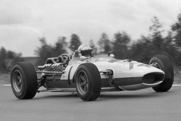 1966 United States Grand Prix.Watkins Glen, New York, USA.30/9-2/10 1966.Ronnie Bucknum (Honda RA273), retired, action.Ref- B/W Print.World Copyright - LAT Photographic