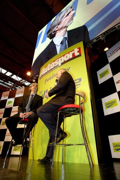 2007 Autosport International ShowNEC, Birmingham. 11th - 14th January 2007.F1 Racing Editor in Chief Matt Bishop grills Damon Hill on the stage. Portrait.World Copyright: Andrew Ferraro/LAT Photographicref: Digital Image ZP9O6137
