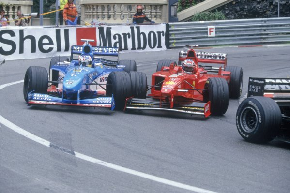 1998 Monaco Grand Prix.Monte Carlo, Monaco. 24 May 1998.Alexander Wurz, Benetton B198-Mecachrome, and Michael Schumacher, Ferrari F300, 10th position, side-by-side at Loews Hairpin, action.World Copyright: LAT PhotographicRef: 35mm transparency