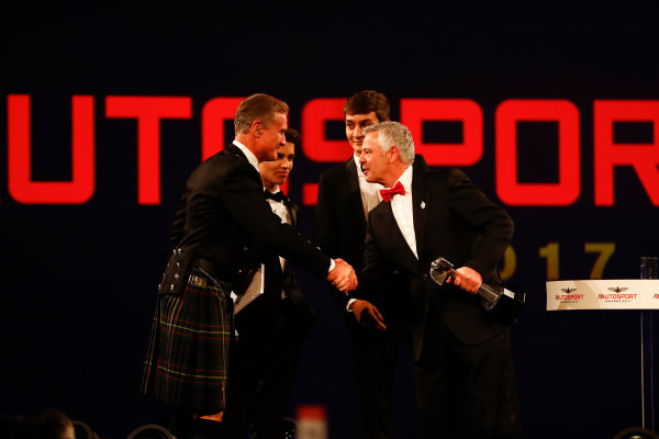 2017 Autosport Awards Grosvenor House Hotel, Park Lane, London. Sunday 3 December 2017. Derek Warwick receives an award. World Copyright: Joe Portlock/LAT Images Ref: Digital Image _o3i6825