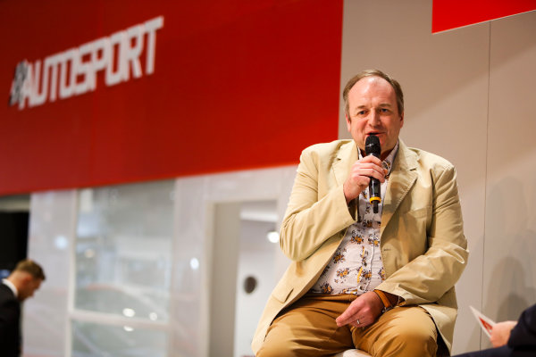 Autosport International Exhibition. National Exhibition Centre, Birmingham, UK. Thursday 11th January 2017. Bruce Wood of Cosworth talks to Henry-Hope Frost on the Autosport stage,World Copyright: Joe Portlock/LAT Images Ref: _U9I9858