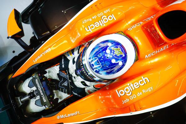 Yas Marina Circuit, Abu Dhabi, United Arab Emirates. Friday 24 November 2017. Fernando Alonso, McLaren. World Copyright: Steven Tee/LAT Images  ref: Digital Image _O3I1026