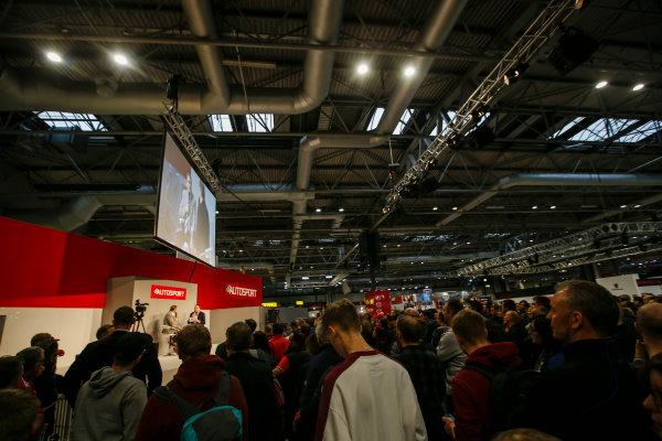 Autosport International Exhibition. National Exhibition Centre, Birmingham, UK. Sunday 14th January 2018. Nigel Mansell talks to Henry Hope-Frost on the Autosport Stage. .World Copyright: Joe Portlock/LAT Images Ref: _L5R0533