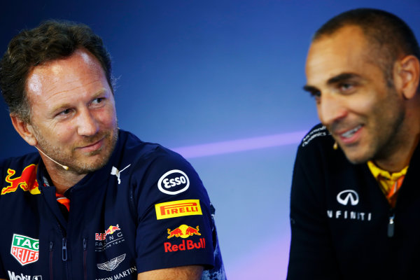 Spa Francorchamps, Belgium.  Friday 25 August 2017. Christian Horner, Team Principal, Red Bull Racing, and Cyril Abiteboul, Managing Director, Renault Sport F1, in the Team Principals Press Conference. World Copyright: Andy Hone/LAT Images  ref: Digital Image _ONZ9436