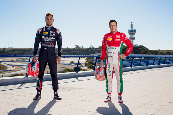 2017 FIA Formula 2 Round 10. Circuito de Jerez, Jerez, Spain. Thursday 5 October 2017. Luca Ghiotto (ITA, RUSSIAN TIME), Antonio Fuoco (ITA, PREMA Racing).  Photo: Zak Mauger/FIA Formula 2. ref: Digital Image _56I3822
