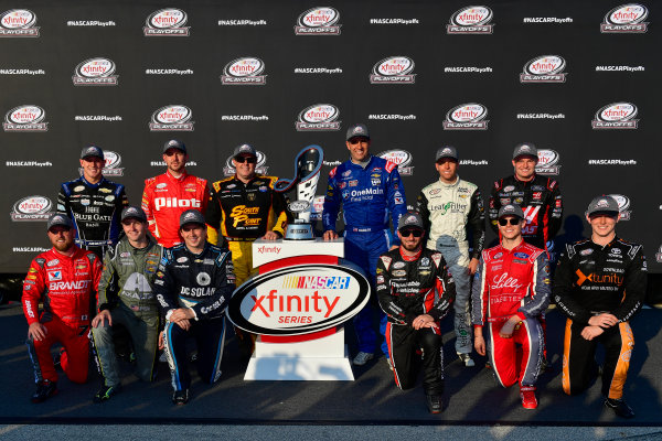 NASCAR XFINITY Series TheHouse.com 300 Chicagoland Speedway, Joliet, IL USA Saturday 16 September 2017 Daniel Hemric, Blue Gate Bank Chevrolet Camaro, Michael Annett, Pilot Flying J Chevrolet Camaro, Brendan Gaughan, South Point Hotel & Casino Chevrolet Camaro, Elliott Sadler, OneMain Financial Chevrolet Camaro, Blake Koch, LeafFilter Gutter Protection Chevrolet Camaro, Cole Custer, Haas Automation Ford Mustang, Michael Annett, Pilot Flying J Chevrolet Camaro, William Byron, AXALTA / JamesHardie Chevrolet Camaro, Brennan Poole, DC Solar Chevrolet Camaro, Jeremy Clements, RepairableVehicles.com Chevrolet Camaro, Ryan Reed, Lilly Diabetes Ford Mustang, Matt Tifft, TMNT Lone Rat & Cub/ABTA Toyota Camry World Copyright: Logan Whitton LAT Images