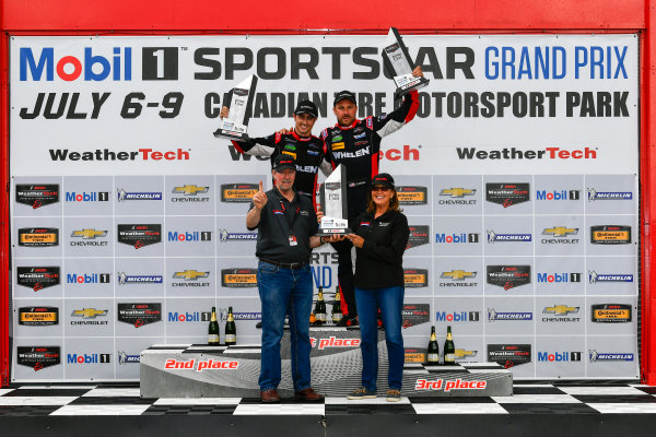 IMSA WeatherTech SportsCar Championship Mobil 1 SportsCar Grand Prix Canadian Tire Motorsport Park Bowmanville, ON CAN Sunday 9 July 2017 31, Cadillac DPi, P, Dane Cameron, Eric Curran, celebrates, win, winners, victory lane, podium World Copyright: Scott R LePage/LAT Images