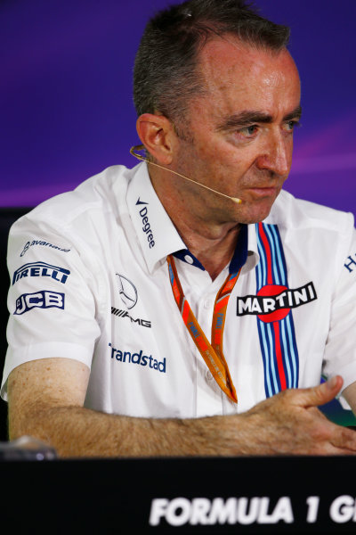 Circuit Gilles Villeneuve, Montreal, Canada. Friday 09 June 2017. Paddy Lowe, Chief Technical Officer, Williams Martini Racing Formula 1, in the Team Principals Press Conference. World Copyright: Andy Hone/LAT Images ref: Digital Image _ONZ0718