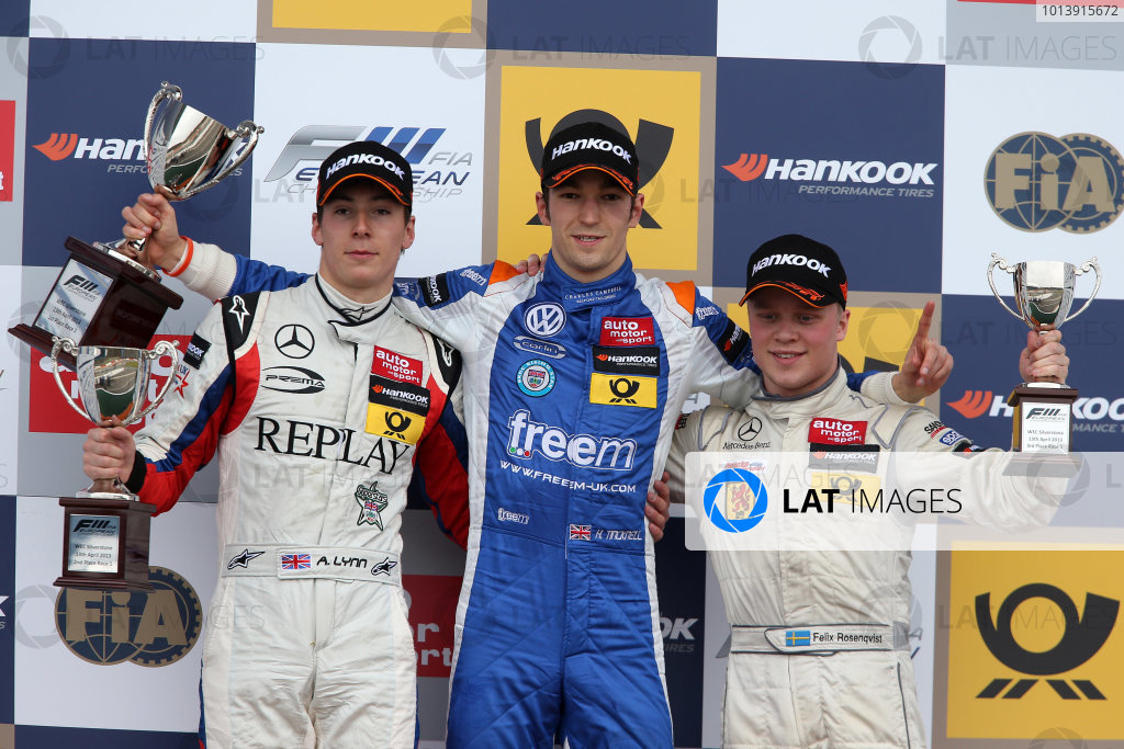 2013 FIA F3 European Championship, Silverstone, Northamptonshire. 12th - 14th April 2013. Race 1 Podium (l-r) Jordan King (GBR) Carlin Dallara Volkswagen, Harry Tincknell (GBR) Carlin Dallara Volkswagen, Felix Rosenqvist (SWE) Kfzteile24 Mucke Motorsport Dallara Mercedes. World Copyright: Ebrey / LAT Photographic.