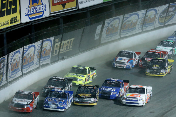 23-24 July, 2013, Rossburg, Ohio, USA Timothy Peters, Dave Blaney, Brendan Gaughan, Darrell Wallace, and Ken Schrader race 5-wide © 2013, Michael L. Levitt LAT Photo USA