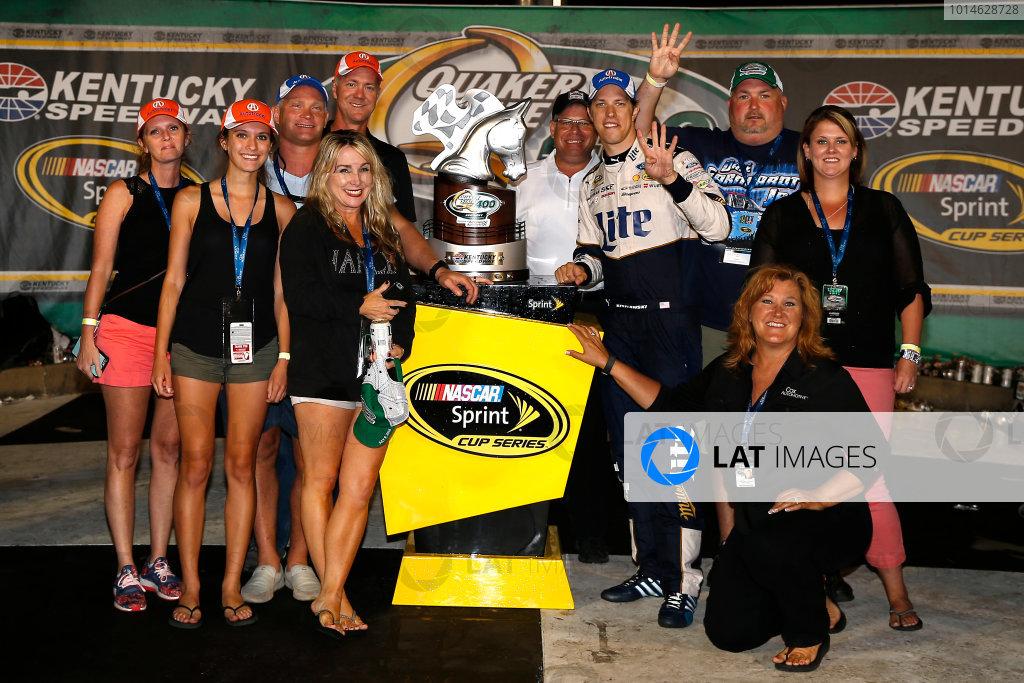 7-9 July, 2016, Sparta, Kentucky USA Brad Keselowski celebrates in victory lane  ©2016, Russell LaBounty LAT Photo USA