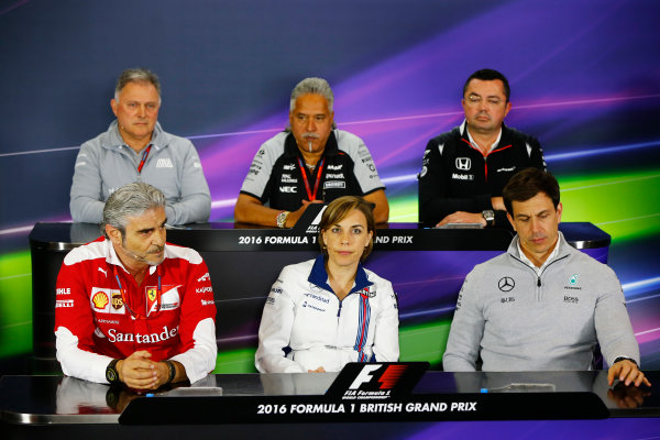 Silverstone, Northamptonshire, UK Friday 08 July 2016. The Friday press conference. Back row, left to right: Dave Ryan, Racing Director, Manor Racing MRT. Vijay Mallya, Team Principal and Managing Director, Force India and Eric Boullier, Racing Director, McLaren. Front row, left to right: Maurizio Arrivabene, Team Principal, Ferrari, Claire Williams, Deputy Team Principal, Williams Martini Racing and Toto Wolff, Executive Director (Business), Mercedes AMG.  World Copyright: Andy Hone/LAT Photographic ref: Digital Image _ONZ9984