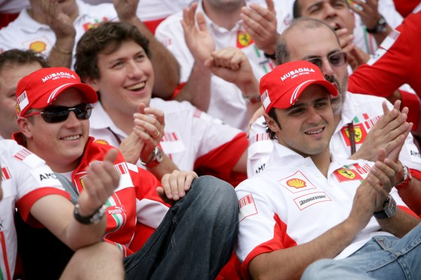 2007 French Grand Prix - Sunday RaceCircuit de Nevers Magny Cours, Nevers, France.1st July 2007.Kimi Raikkonen and Felipe Massa celebrate a Ferrari 1-2 with Jean Todt and the team.World Copyright: Andrew Ferraro/LAT Photographicref: Digital Image VY9E3443