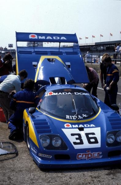 Chris Craft (GBR) / Raul Boesel (BRA) / Eliseo Salazar (CHI) Dome RC-82 Ford in the pits.World Sports Prototype Championship, Rd2, Silverstone 6 Hours, England, 16 May 1982.