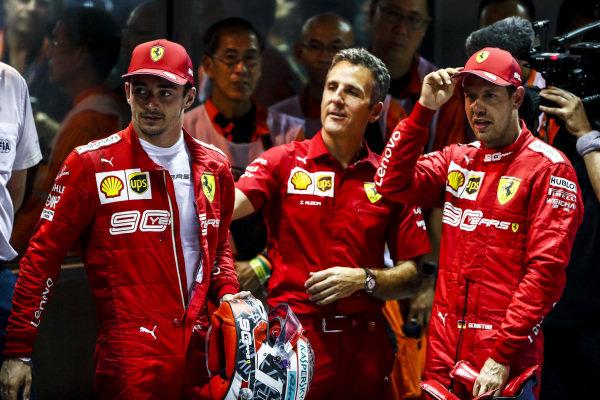 Race winner Sebastian Vettel, Ferrari and Charles Leclerc, Ferrari in Parc Ferme