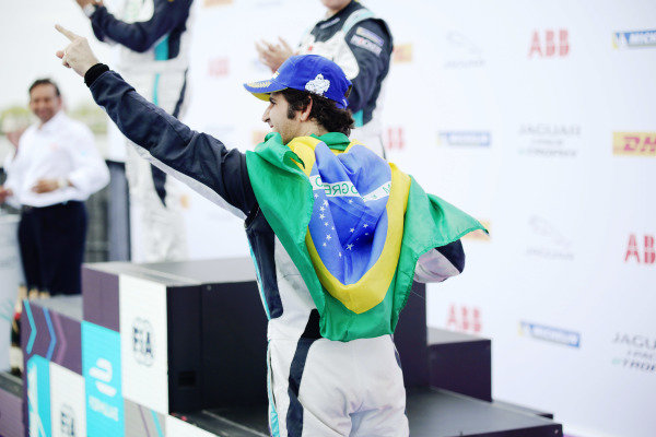 Race winner Sérgio Jimenez (BRA), Jaguar Brazil Racing on the podium