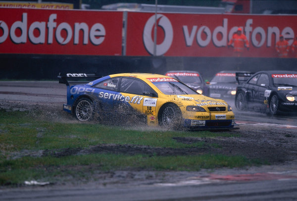 2002 DTM Championship, Zolder, Belgium. Rd 2, 4th-5th May 2002.Alain Menu struggles with this spin in the wet conditions.World Copyright: Lawrence/LAT Photographic