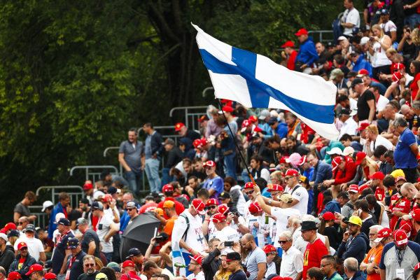 Finnish flag flown by the tifosi for Kimi Raikkonen, Ferrari.