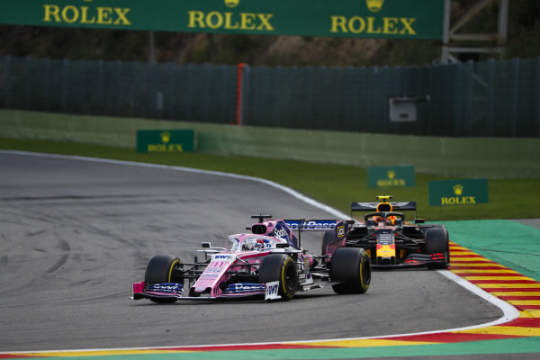 Sergio Perez, Racing Point RP19, leads Alexander Albon, Red Bull RB15