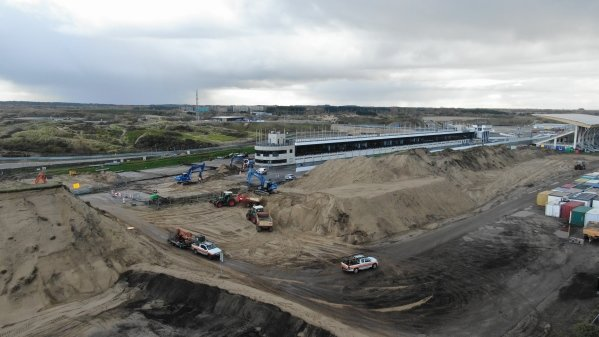 Construction work at the Zandvoort race track for the Dutch Grand Prix