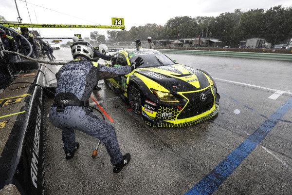 #14 AIM Vasser Sullivan Lexus RC-F GT3, GTD: Aaron Telitz, Jack Hawksworth, #12 AIM Vasser Sullivan Lexus RC-F GT3, GTD: Frankie Montecalvo, Townsend Bell, pit stop, rain, hail