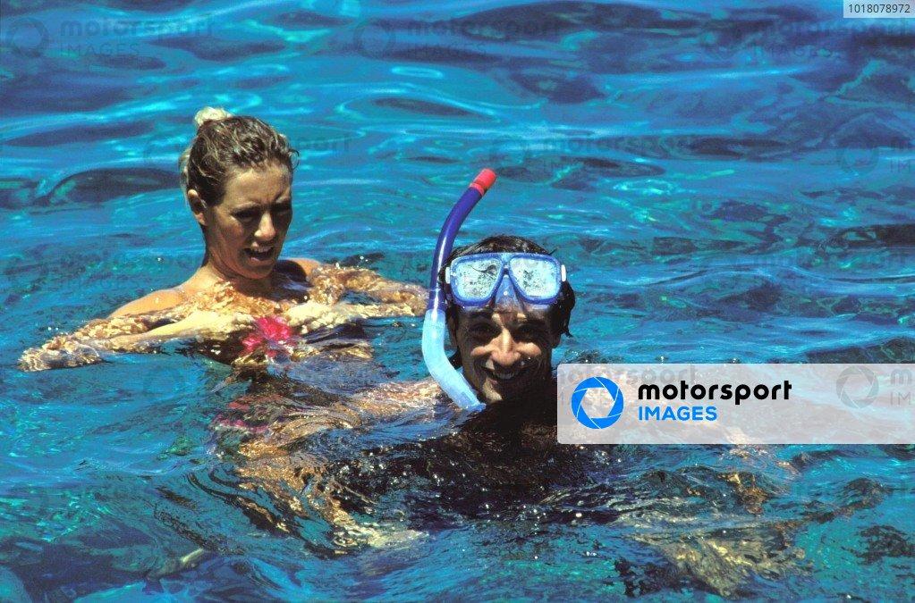 Republic of Fiji. 1988. Riccardo and Susie Patrese swim and snorkel on holiday