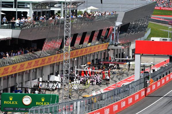 Sergio Perez (MEX) Force India VJM10 pit stop at Formula One World Championship, Rd9, Austrian Grand Prix, Race, Spielberg, Austria, Sunday 9 July 2017.