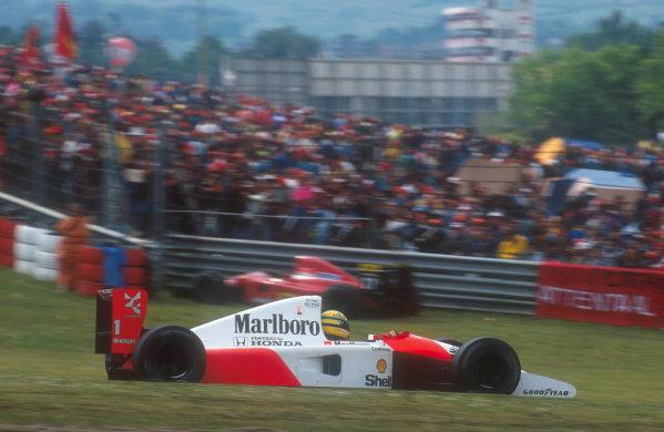1991 San Marino Grand Prix.Imola, Italy.26-28 April 1991.Ayrton Senna (McLaren MP4/6 Honda) 1st position. Ref-91 SM 08.World Copyright - LAT Photographic