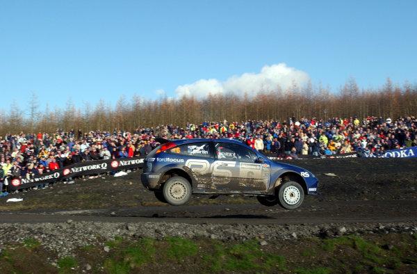 2002 World Rally Championship.Network Q Rally of Great Britain, Cardiff. November 14-17. Markko Martin jumps in Walters Arena on Stage 15, Rheola 2.Photo: Ralph Hardwick/LAT
