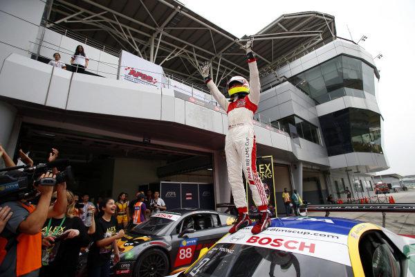 Alex Yoong (MAL) Audi TEDA Racing Team celebrates in parc ferme at Audi R8 LMS Cup, Rd4, Sepang, Malaysia, 4-6 September 2015.