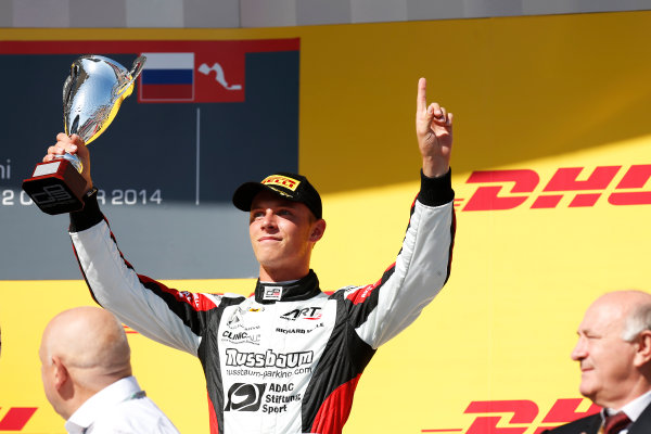 2014 GP3 Series. Round 8.   Sochi Autodrom, Sochi, Russia. Sunday Race 2 Sunday 12 October 2014. Marvin Kirchhofer (GER, ART Grand Prix) on the podium. Photo: Alastair Staley/GP3 Series Media Service. ref: Digital Image _79P5809