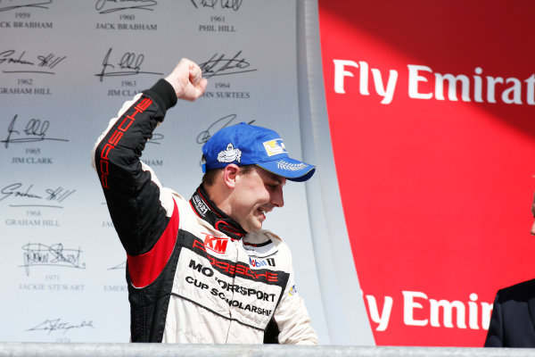 2014 Porsche Supercup. Sunday 2 November 2014. Earl Bamber, No.19 Fach Auto Tech, 2nd Position, celebrates championship victory. World Copyright: /LAT Photographic. ref: Digital Image _W2Q7123