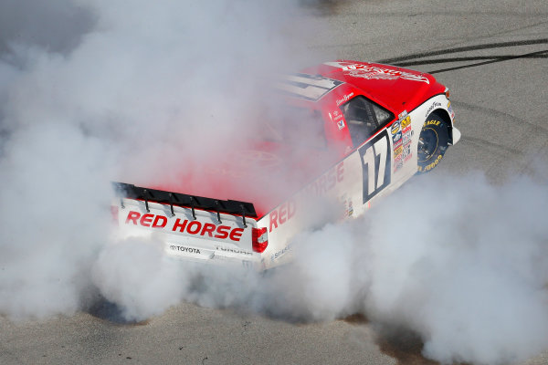17-18 October, 2014, Talladega, Alabama USA Timothy Peters celebrates his win with a burnout ? 2014, Russell LaBounty LAT Photo USA