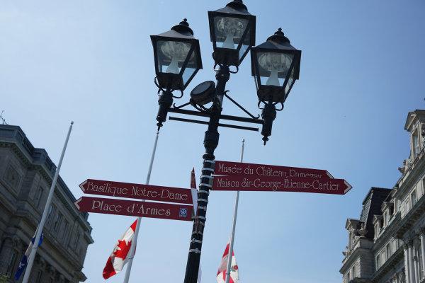 Circuit Gilles Villeneuve, Montreal, Canada. Wednesday 3 June 2015. Roadsigns in Montreals French Quarter. World Copyright: Glenn Dunbar/LAT Photographic. ref: Digital Image DSC00437