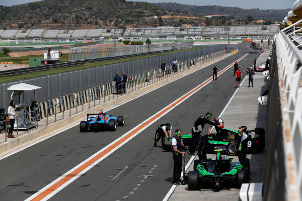 2015 GP3 Series Test 2 - Circuit Ricardo Tormo, Valencia, Spain. Friday 10 April 2015. Cars return to the pit lane Photo: Sam Bloxham/GP3 Series Media Service. ref: Digital Image _SBL5280