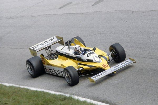 1981 Italian Grand PrixMonza, Italy. 11-13 September 1981.Alain Prost (Renault RE30), 1st position. Ref - 81ITA10.World Copyright - LAT Photographic
