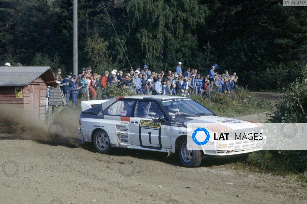 1983 World Rally Championship.1000 Lakes Rally, Finland. 26-28 August 1983.Hannu Mikkola/Arne Hertz (Audi Quattro A2), 1st position.World Copyright: LAT PhotographicRef: 35mm transparency 83RALLY23