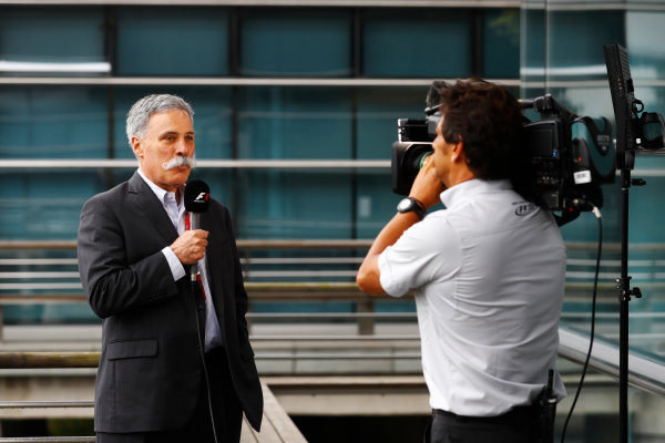 Shanghai International Circuit, Shanghai, China.  Friday 07 April 2017. Chase Carey, CEO of Formula One Group, gives an interview. World Copyright: Steven Tee/LAT Images ref: Digital Image _R3I2887