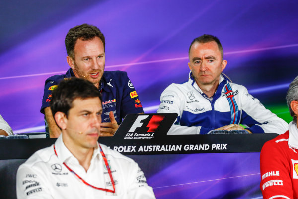 Albert Park, Melbourne, Australia. Friday 24 March 2017. Toto Wolff, Executive Director (Business), Mercedes AMG, Christian Horner, Team Principal, Red Bull Racing, and Paddy Lowe, Williams Martini Racing Formula 1, in the Team Principals Press Conference. World Copyright: Sam Bloxham/LAT Images ref: Digital Image _J6I1842