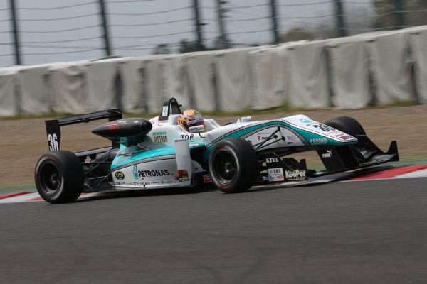 2014 All-Japan F3 Championship Suzuka, Japan. 12th - 13th April 2014. Rd 1. Race 1 - Winner  Kenta Yamashita ( #36 PETRONAS TEAM TOM'S ) action World Copyright: Yasushi Ishihara / LAT Photographic. Ref: 2014JF3_Rd1_005.JPG