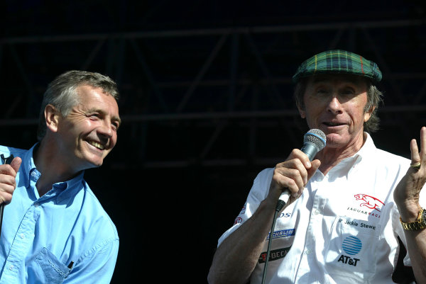 2003 British Grand Prix.Grand Prix Party.Silverstone, England.20th July 2003.Tony Jardine and Jackie Stewart.World Copyright: LAT Photographic.Ref: 11mb Digital Image Only.