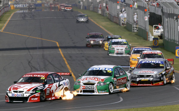 2004 Australian V8 Supercars.Non-Championship Round. Albert Park, Melbourne, 5th - 7th March.Todd Kelly leads John Bowe into turn 1.World Copyright: Mark Horsburgh/LAT Photographicref: Digital Image Only