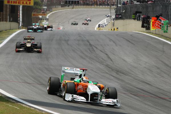 Adrian Sutil (GER) Sahara Force India Formula One Team VJM04. Formula One World Championship, Rd 19, Brazilian Grand Prix, Race, Interlagos, Sao Paulo, Brazil, Sunday 27 November 2011.